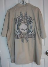 Harley Davidson Embroidered Skull Button Up Shirt Large Tan Short Sleeve