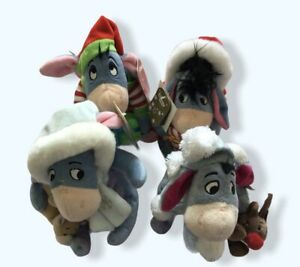 Disney Store Winnie Pooh 2008 Eeyore Christmas Xmas Soft Toy Plush 7'' - Tags