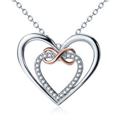 Sterling Silver Necklace Infinity Heart 18 Inches for Women - New