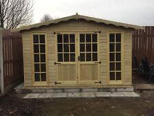 10x8 Georgian Summer house Garden Office Log Cabin Shed Heavy Duty T&G Tanalised