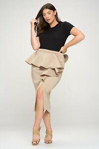 PLUS SIZE Women's Ruffled Peplum Neoprene Midi Skirt | Made in USA | 1X 2X 3X
