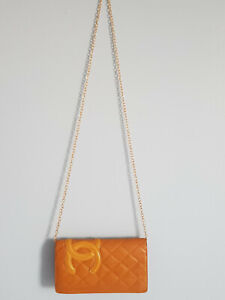 Chanel Cambon Tan Quilted lambskin Leather woc Crossbody Bag wallet on chain