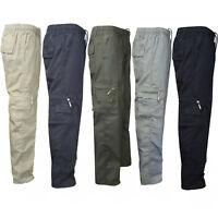 Mens Cargo Combat Work Trousers Elastic Waist Casual Straight Leg Loose Pants