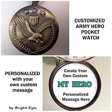 "CUSTOM Personalized USA Army Military Pocket Watch 31"" Necklace Unisex Veteran"
