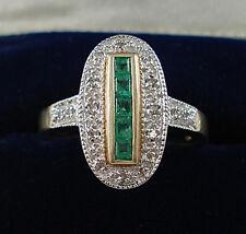 Art Deco Style 9ct Gold Diamond & Emerald Ring.