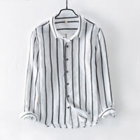 Men's Cotton Linen Long Sleeve Shirts Striped Slim Fit Dress Shirts Male TS338