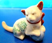 Vintage Japan Glazed Ceramic Cat/Kitten Figurine Red Bow with Blue Yarn Ball