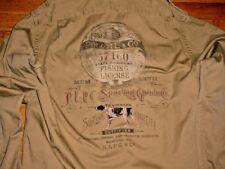 Vintage Polo Ralph Lauren Hunting Fishing Graphics Shirt Jacket Khaki Logo Men L