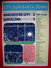 Manchester City 3 Barcelona 1 - 2016 Champions League - souvenir print