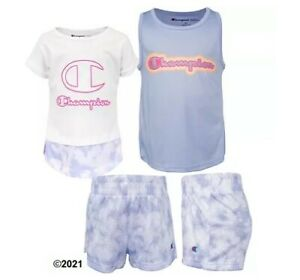 Champion Girl Toddler 3-Piece White/Land Ice Tie-Dye Set Size 4T