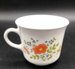CORELLE COFFEE CUP vintage Wildflower orange blue green yellow floral print