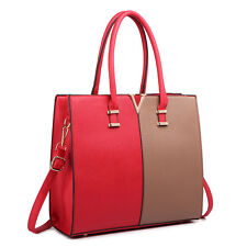 Women Structure PU Leather Shoulder Handbag Tote Bag Satchel Red And Brown