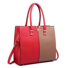 Struttura delle donne PU pelle Spalla Borsetta Tote Bag Borsa a Tracolla Rosso e Marrone