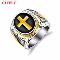 CIFBUY Punk Cross Ringe Herren Edelstahl Stempel Finger Bands Weihnachts Schmuck