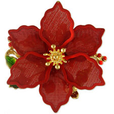 Flower Brooch Pin Pendant New Christmas Red Gold Poinsettia