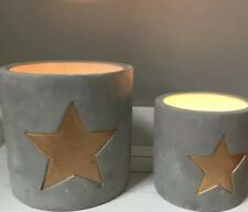 Stunning Pair Of Grey Concrete Candle Holders With Gold Star