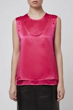 TOPSHOP Boutique Immaculate Condition 100% Silk Pink Double Layer Top UK 10