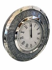 Round Circle Diamante Glass Crystal Jewel Gem Mirror Wall Analogue Clock Diamond