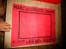 """Ancien Tapis de Jeu de Cartes Marc du Castel Egrappé Pastis """"Un 69"""" Anisette"""