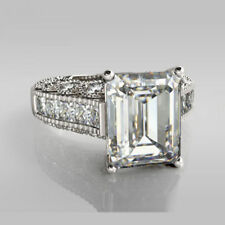 Certified 4.25Cts Emerald Cut Diamond Vintage Engagement Ring 14K GOLD
