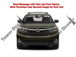 Custom Text Windshield Banner Vinyl Decal - Fits Toyota Highlander