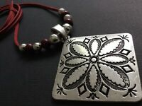 RED Long Suede Statement NECKLACE With Antique Silver Flower Pendant Lagenlook
