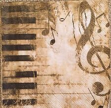 2 single paper napkins Decoupage crafts collection Piano Music Key Notes sole