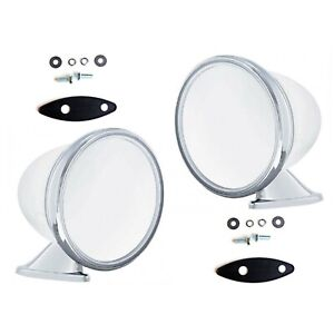 """4"""" Talbot Shelby British Style Fender Door Mounted GT Racing Chrome Mirrors Pair"""