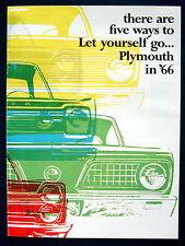 Prospekt brochure 1966 Plymouth Barracuda  Fury  Satellite  Valiant  (USA) NOS