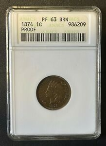 1874 Proof Indian Head 1 Cent, Old ANACS Small Case, PF-63, High Grade Coin