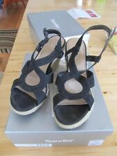 Vintage Sandler Laguna Rope Wedges Nubuck Suede Upper WORN FEW TIMES 9B Black