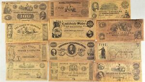 Historical & Southern Reproduction Confederate Currency Notes/Cash Lot of 12