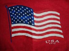 Red Faded Glory Usa 2013 American Flag T Shirt Adult S Free Us Shipping