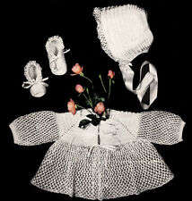 Vintage Crochet PATTERN Frilly Knot Stitch Baby Sacque Booties Bonnet Set