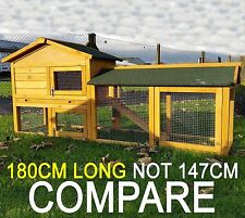 6FT LONG LARGE RABBIT HUTCH GUINEA PIG HUTCHES RUN RUN LARGE 2 TIER  NATURAL