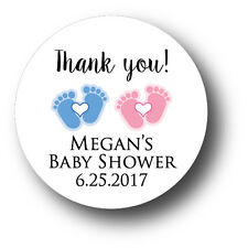 30 Twin Baby Shower Personalized Stickers - Thank you! blue or pink baby feet