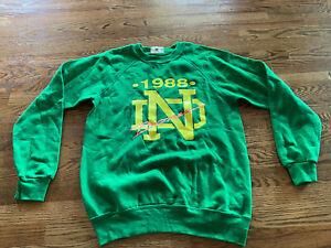 Vintage Notre Dame Fighting Irish Crew Neck Sweatshirt Large L Bones 1988 Band