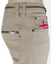 NEWT$100%AUTH MOSCHINO JEANS BEIGE PANTS ZIP POCKETS UNION JACK EMBROIDERY US 36