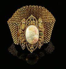 ANTIQUE CAMEO BRACELET GOLD CIRCA 1860 HAND CARVED CAMEO