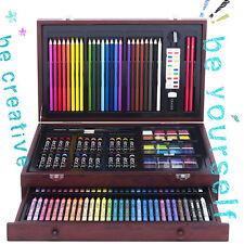 Wood Art Set 142-Piece  Drawing Supplies Pencil Crayon Paint Oil Pastel Art 101