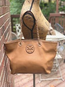 EEUC Tory Burch Marion Small East/West Whipstitch Tan Leather Tote Handbag