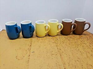 6 Vintage RARE SIZE Coors USA Pottery Ceramic Mug Cup Lot Yellow Blue Brown Set