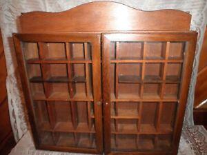 Vintage Shadow Box Wall Hanging Shelf Miniatures Display Case Glass Door