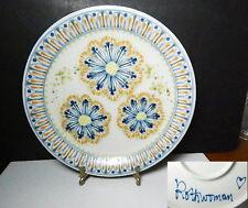 Janet ROTHWOMAN Art Pottery, Blue Flower Dinner Plate, Mint