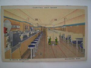 DINER INTERIOR ~ Capital Eat Shop ~  Linen Postcard  Rochester, Minnesota 1930s