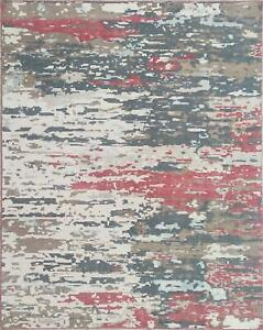 Wool Hand Knotted Area Rug Handmade Abstract red 8'x10' - 7078