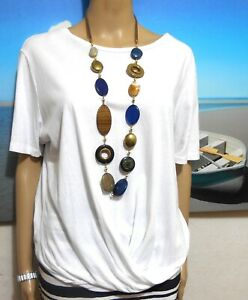 French Connection white tunic top, draping style, sz. 14/XL, as new