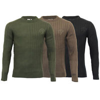 Mens Jumper Crosshatch Knitted Sweater Zip Pullover Top GLADES Warm Winter New
