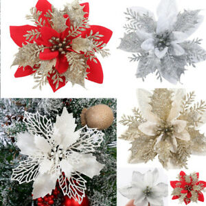 10X Christmas Large Poinsettia Glitter Flower Tree Hanging Party Xmas Decoration