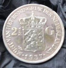 Vintage 1937 silver coin 2.5 Gulden Queen Wilhelmina of the Netherlands